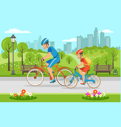 cartoon father with son riding on bicycles in park vector image