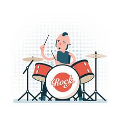 Cartoon rock drummer playing on drum set vector