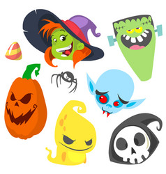 cartoon set halloween symb vector image