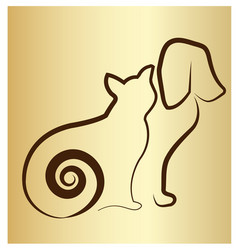 cat and dog silhouette icon vector image