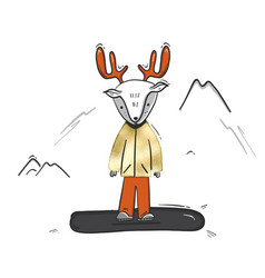 childish deer on snowboard cartoon winter sketch vector image