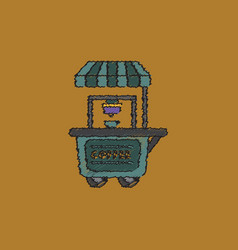 Coffee shop cart in hatching style vector