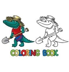 Crocodile-farmer Coloring book vector image