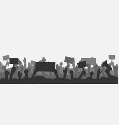 Crowd people protesters silhouettes vector
