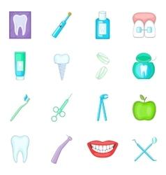 Dentist icons set cartoon style vector image