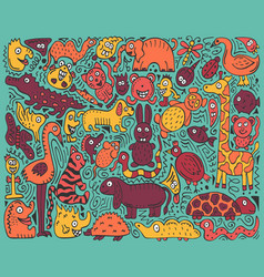 Doodle color poster with hand-drawn zoo animals vector