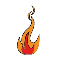 drawing fire flame bright danger icon vector image