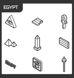 egypt outline isometric icons vector image
