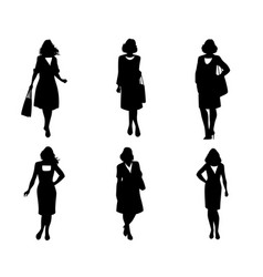 elegant women silhouettes set vector image
