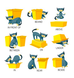 English prepositions place visual aid vector
