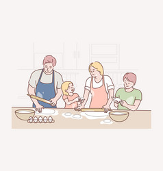 family recreation cooking fatherhood vector image