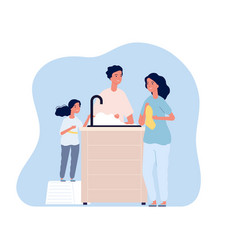 Family washing hands woman drying arm with towel vector