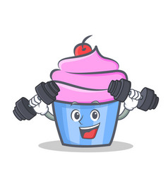 fitness cupcake character cartoon style vector image