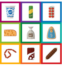 Flat icon eating set of bratwurst yogurt sack vector