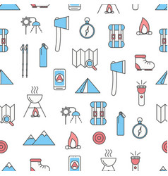 Flat line art hiking seamless pattern vector