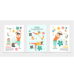 Flat yoga and harmony posters vector