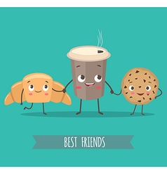 Funny characters croissant cookies with chocolate vector
