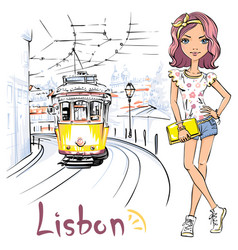 Girl and yellow 28 tram alfama lisbon portugal vector