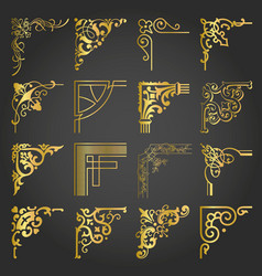 gold vintage design elements corners and borders vector image