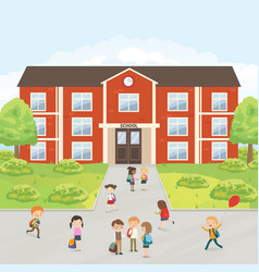 Group of elementary school kids in the school yard vector