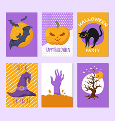 halloween party posters and invitation cards vector image