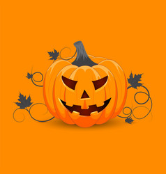 halloween with pumpkins face poster party harvest vector image