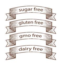 Hand drawn grunge banners - gluten free sugar vector