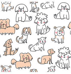 handdrawn seamless pattern with cute doodle dogs vector image