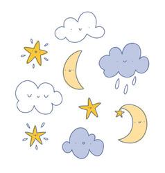 Happy cartoon clouds moon and stars set vector