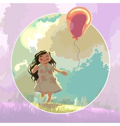 Happy cartoon girl running after a balloon vector