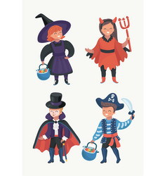 Happy excited kids in halloween costumes vector