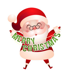 happy santa claus with greetings vector image