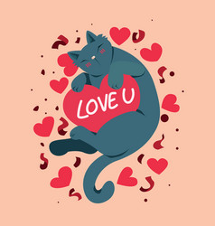 happy valentines day with cute cat and love you vector image