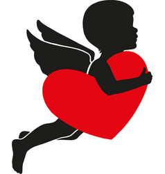 heart with cupid valentine s day vector image