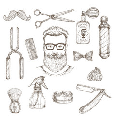 hipster and barber elements set vector image