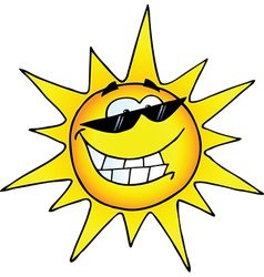 Hot Sun Cartoon Character vector image