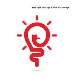 Human hand logo and light bulb logo design vector image
