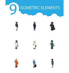 Isometric human set of seaman hostess cleaner vector