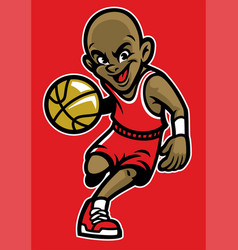Kid playing basketball vector