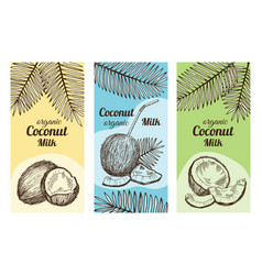 Labels for package design with hand drawn vector