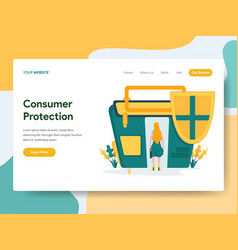 Landing page template consumer protection vector