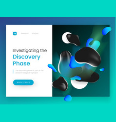 landing page template with a 3d abstract shapes on vector image