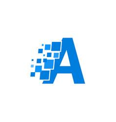 logo letter a blue blocks cubes vector image