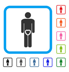 Male love genitals framed icon vector