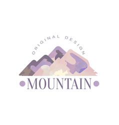 Mountain original design logo tourism hiking and vector
