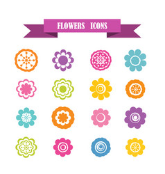 multicolored icons with tape on topic flowers vector image