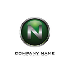 n 3d circle chrome letter logo icon design vector image