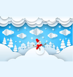 Papercut winter landscape xmas new year vector