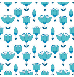 Peasant style simple floral pattern on blue color vector