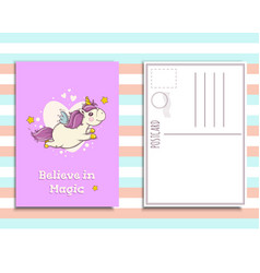 Postcard invitation template with cute unicorn vector